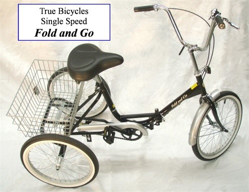 True Bicycles Fold and Go Single Speed Folding Tricycle