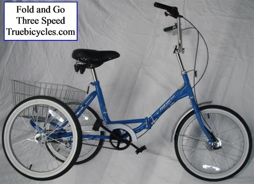 True Bicycles Fold and Go 3-Speed Folding Tricycle