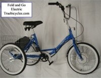True Bicycles Fold and Go 3-Speed Electric Folding Tricycle