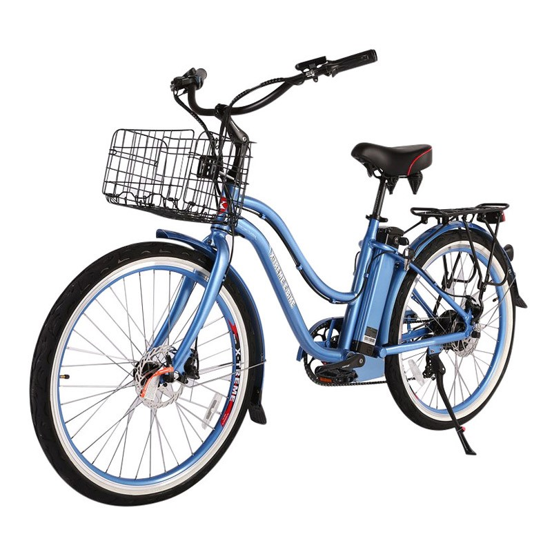 X-Treme Malibu Elite Max 36v Women's Electric Beach Cruiser Baby Blue