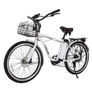 X-Treme Newport Elite Men's Electric Beach Cruiser metallic white