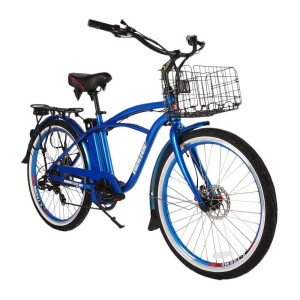 X-Treme Newport Elite Max 36v Men's Electric Beach Cruiser metallic blue