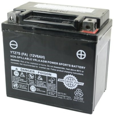 12V 6AH Battery YTZ7S Factory Activated, Part #104-50
