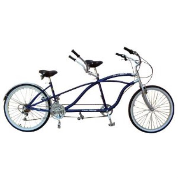 WheelBikes Tandem Beach Cruiser 18 Speed Bicycle